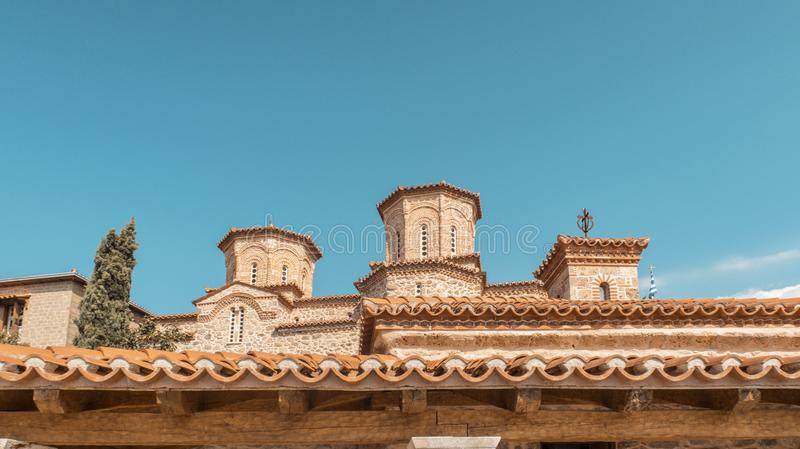 Building rooftop view with blue sky royalty free stock photo