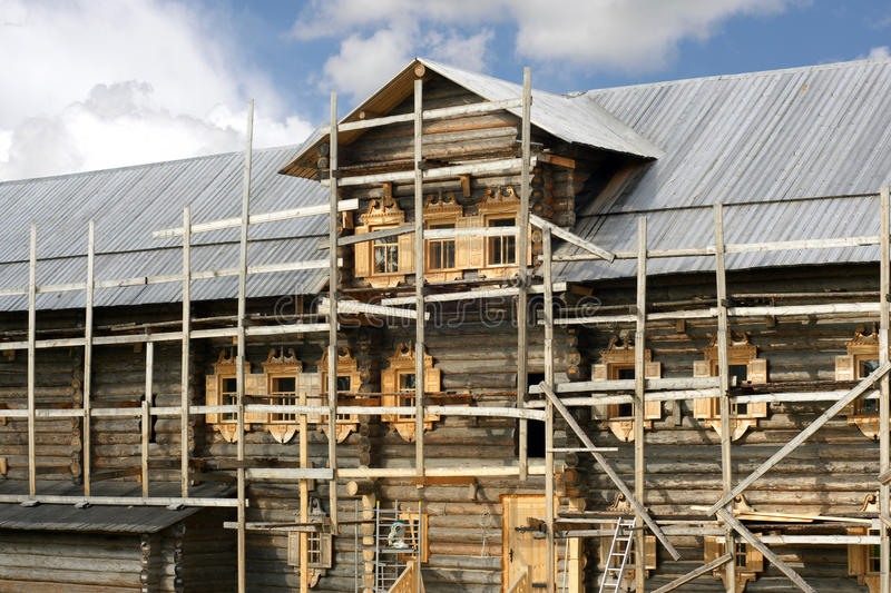 Building of russian wooden house royalty free stock image