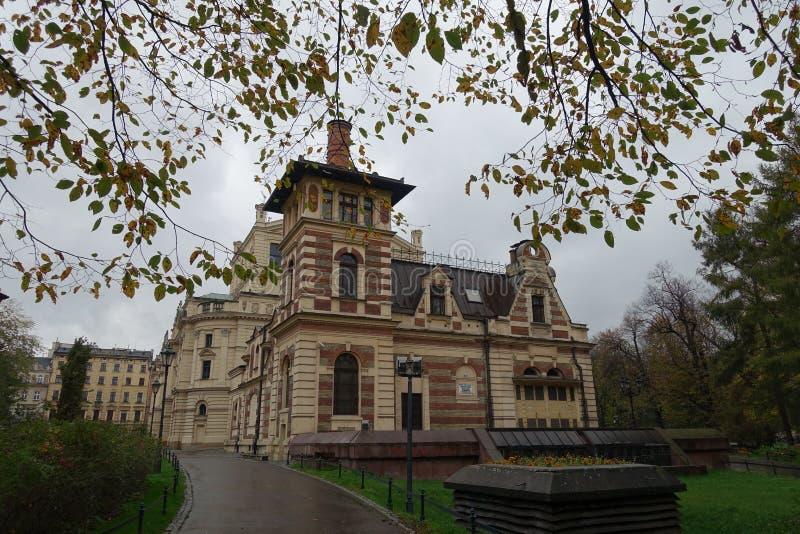 Building of `Scena Miniatura` in Krakow in autumn. Building of Scena Miniatura in Krakow in autumn stock image