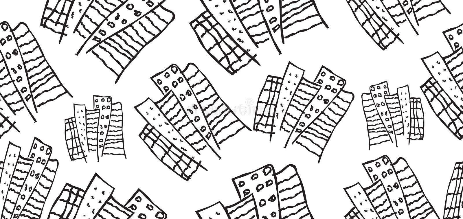 Building seamless pattern, banner template vector, web banner, web page, cover, urban wallpaper, hand drawn doodle cartoon royalty free stock photo