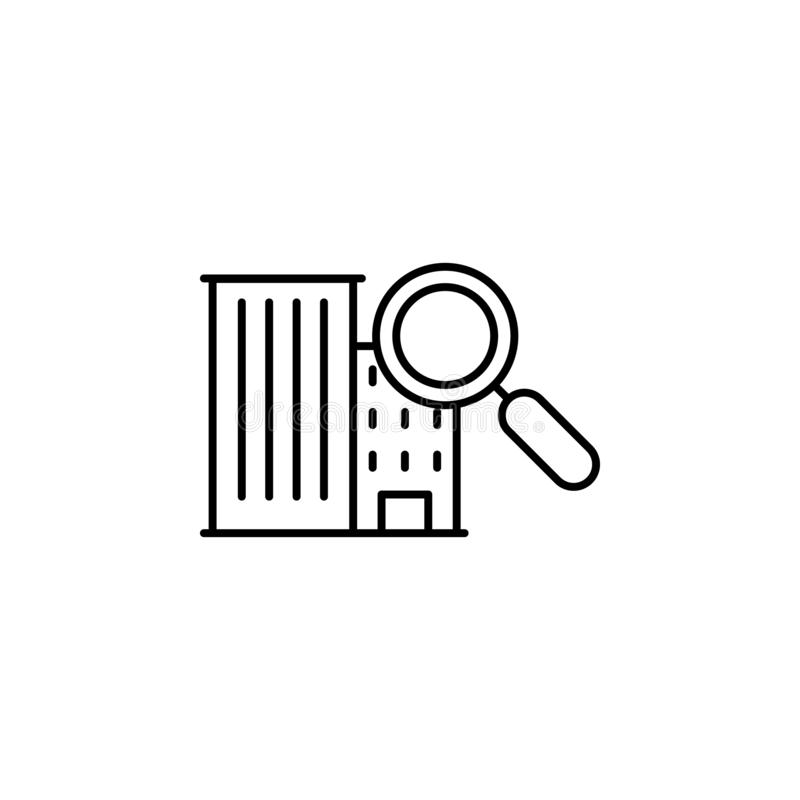 building, search icon. Simple thin line, outline vector of Real Estate icons for UI and UX, website or mobile application royalty free illustration