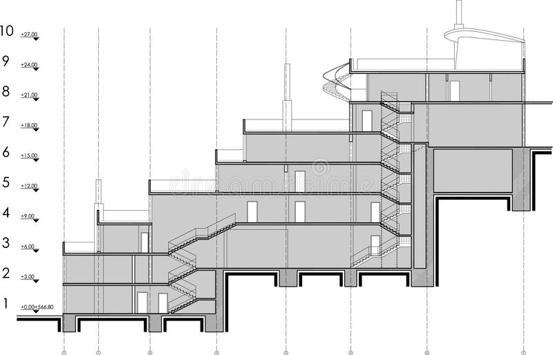 Building section drawing stock images