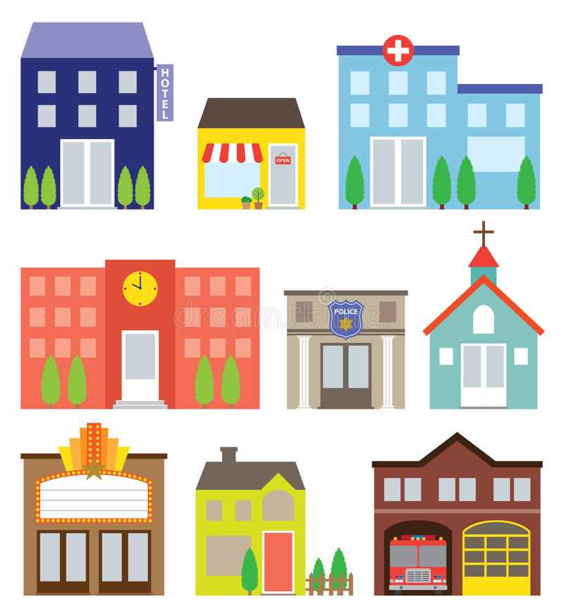 Building Set. Illustration of buildings including store, hotel, hospital, school, police station, church, movie theater, house, and fire station