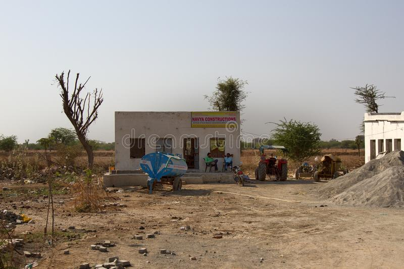 Building shop, sale of cement blocks and a brick. India, Pushkar-March 3, 2018: building shop, sale of cement blocks and a brick royalty free stock image