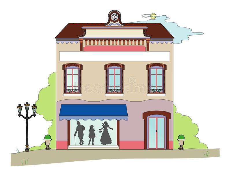 Building with shop royalty free illustration