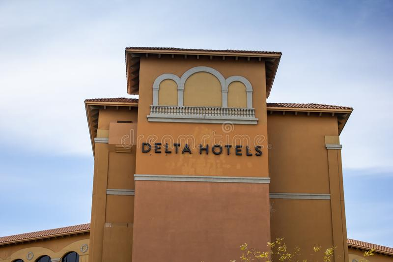 Delta Hotels building and sign royalty free stock photos