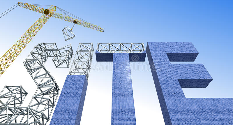 Building site. 3D crane building word site stock illustration