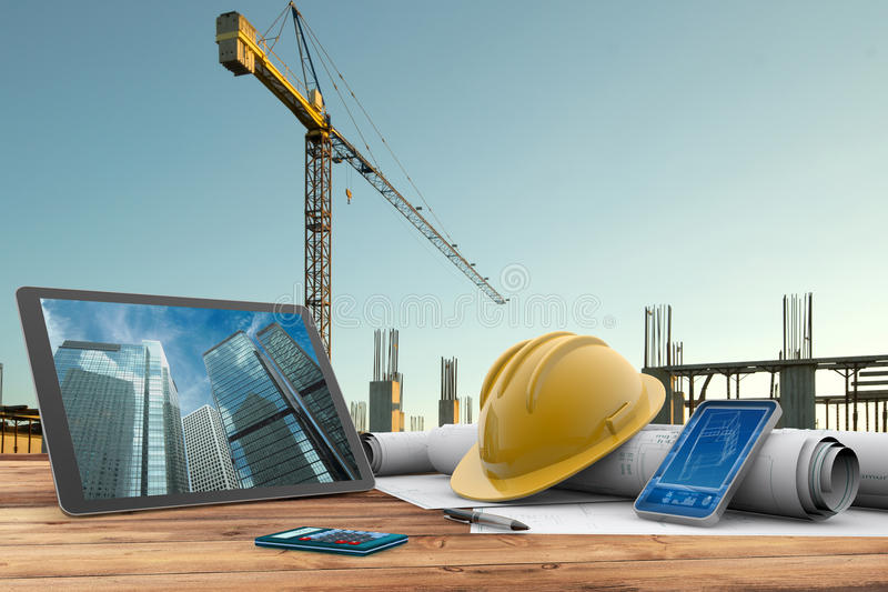 Building site. Blueprints, safety helmet and computer in construction site royalty free illustration