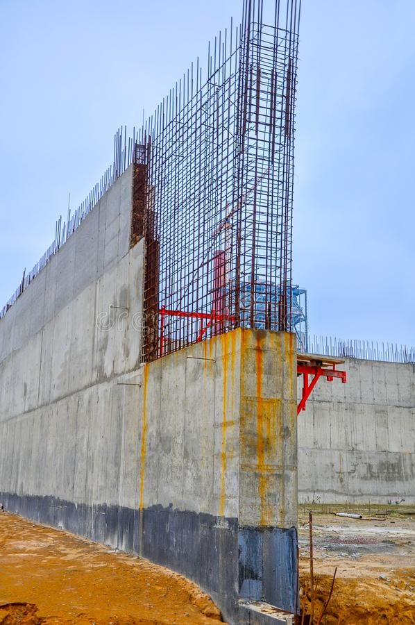 Construction of concrete designs, iron frame constructions royalty free stock image