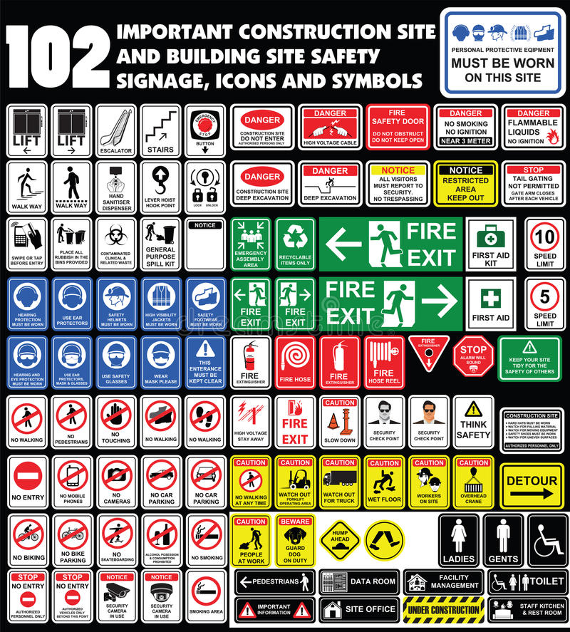 Building site, construction environments, Hazard warning attention sign, Industry Health and Safety Icon collection. royalty free illustration