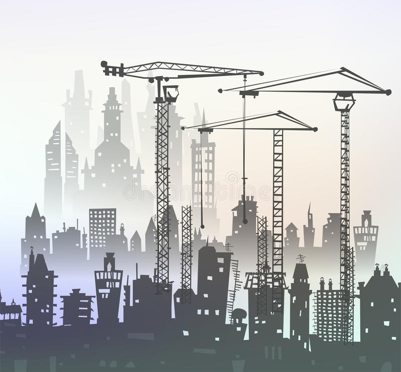 Building site with cranes. City backgroundEaster bunny and eggs background, Sketch. Building site with cranes and cars. City background stock illustration