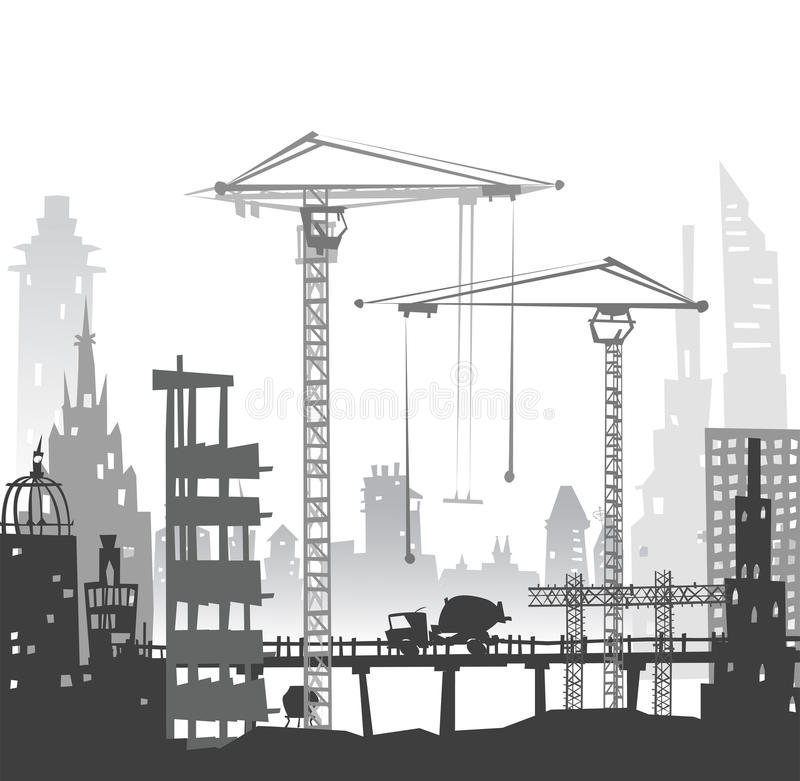 Building Site With Cranes. City BackgroundEaster Bunny And Eggs ...