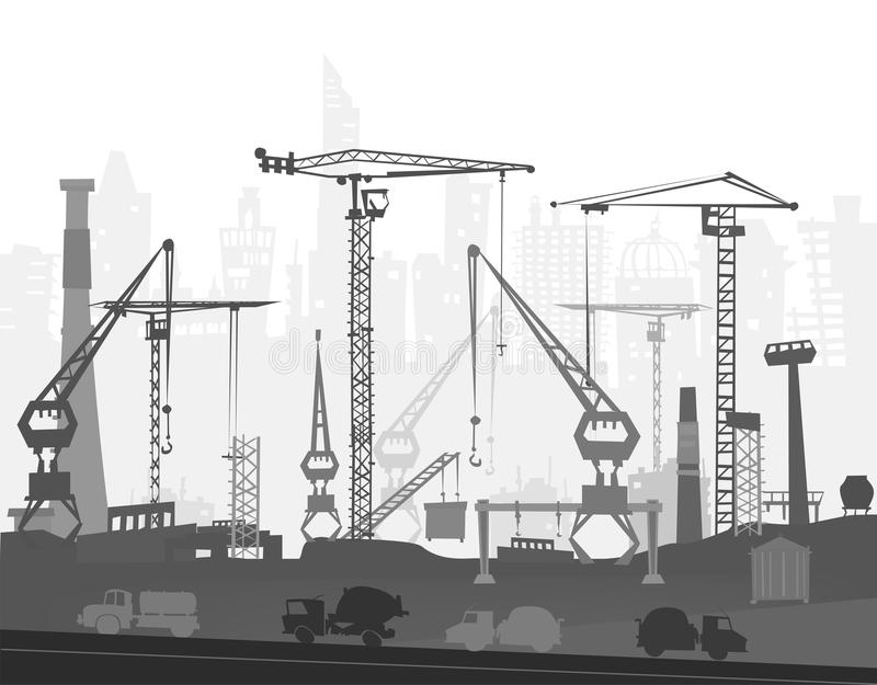 Building site with cranes. City backgroundEaster bunny and eggs background, Sketch. Building site with cranes and cars. City background royalty free illustration
