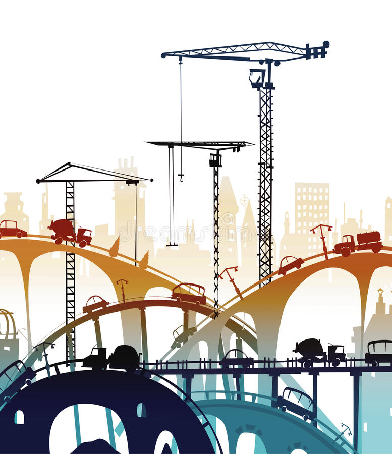Building site with cranes and lorries. On the roads vector illustration