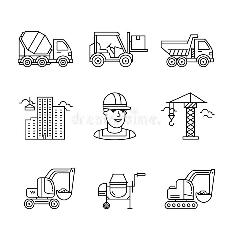 Building site engineering and machinery vector illustration