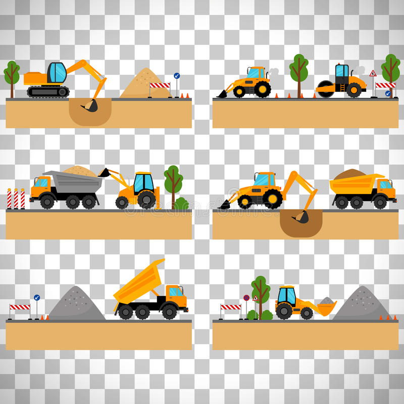 Building site machinery on transparent background royalty free illustration