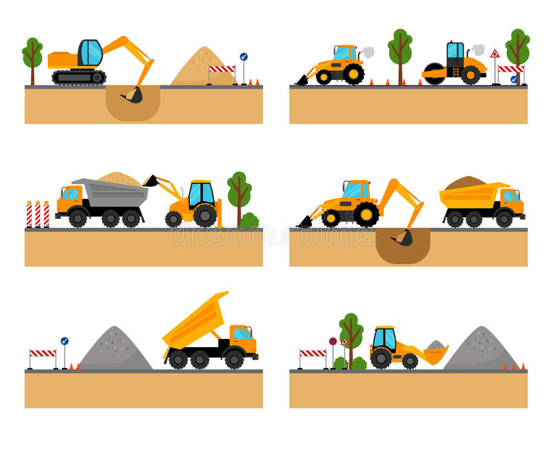 Building site machinery vector icons royalty free illustration