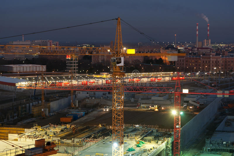Download Building site at night stock image. Image of development - 18225303