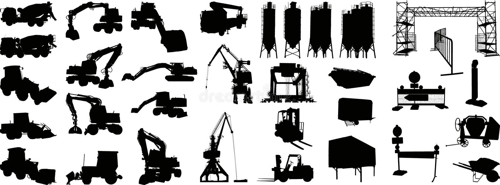 Building site silhouette 1 (+ vector) stock illustration