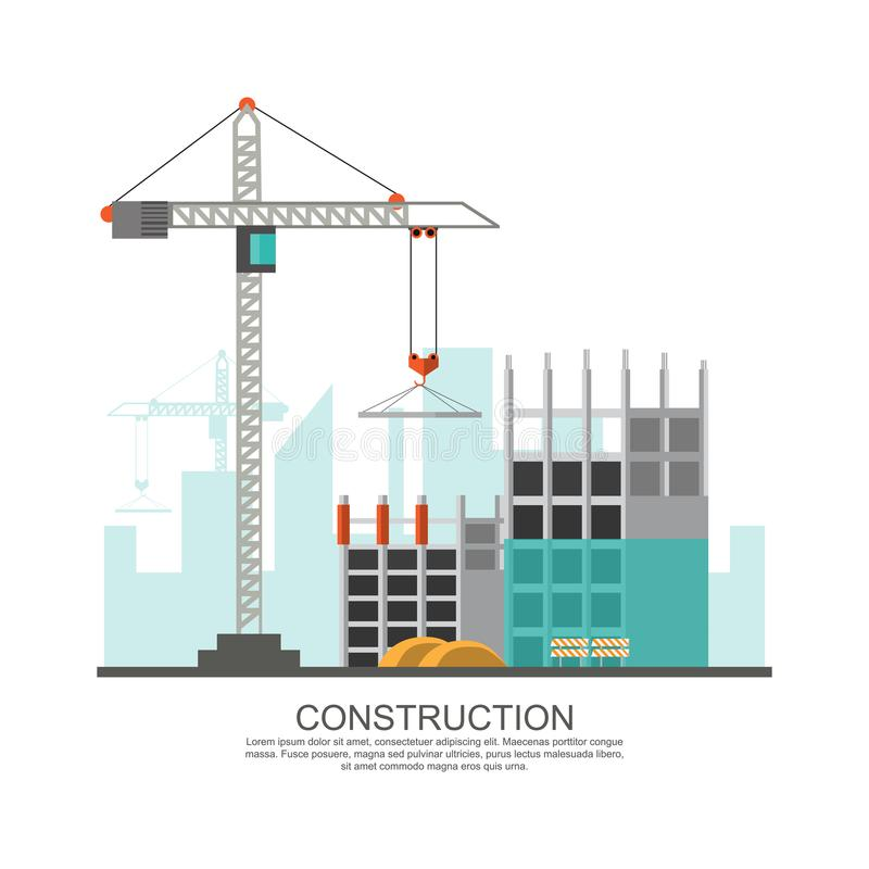 Building site work process under construction with cranes and ma stock illustration