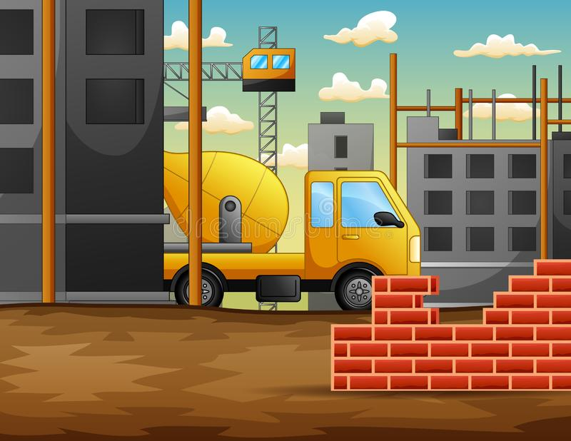 Building site work process under construction with cranes and machines royalty free illustration