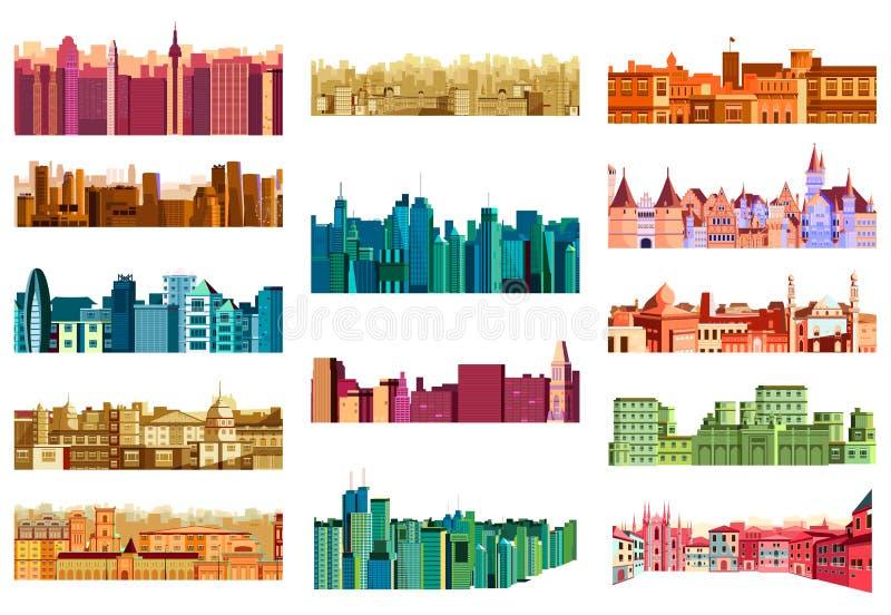 Building and skyscraper in cityscape. Vector illustration of building and skyscraper in cityscape stock illustration
