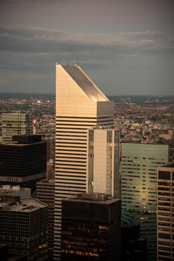 Building with slanted top in midtown Manhattan (NYC, USA. Looking North from the top of midtown Manhattan (NYC, USA royalty free stock image