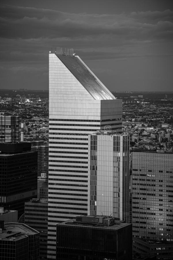 Building with slanted top in midtown Manhattan (NYC, USA. Looking North from the top of midtown Manhattan (NYC, USA royalty free stock photography