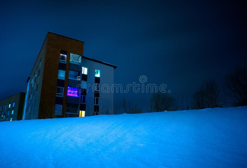 Download Building in snowy night stock photo. Image of high, outside - 21168280