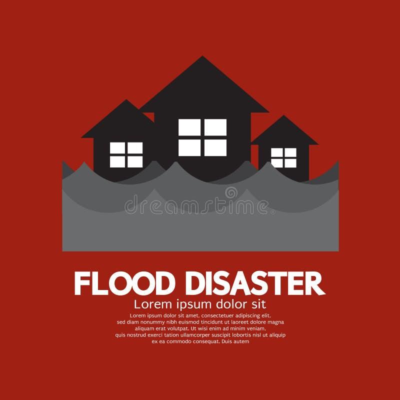 Building Soaking Under Flood Disaster. Vector Illustration royalty free illustration