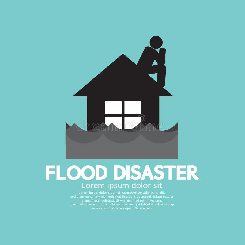 Building Soaking Under Flood Disaster. Vector Illustration stock illustration