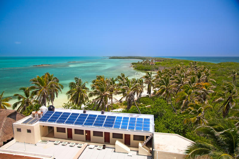 Download Building With A Solar Panel On The Isla Contoy, Mexico Stock Image - Image: 10856759