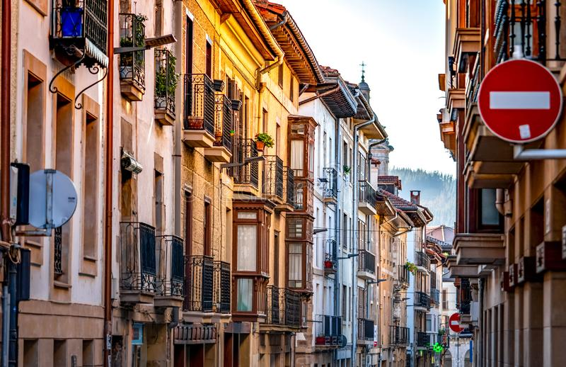 Building in Spain. Architecture in city. Urban building in residential area in Spain. Street view in Europe. Travel in Spain. Concept. Town in Europe stock images