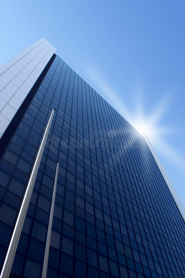 Building with sparkle. High building from above with sparkle and blue sky stock photo