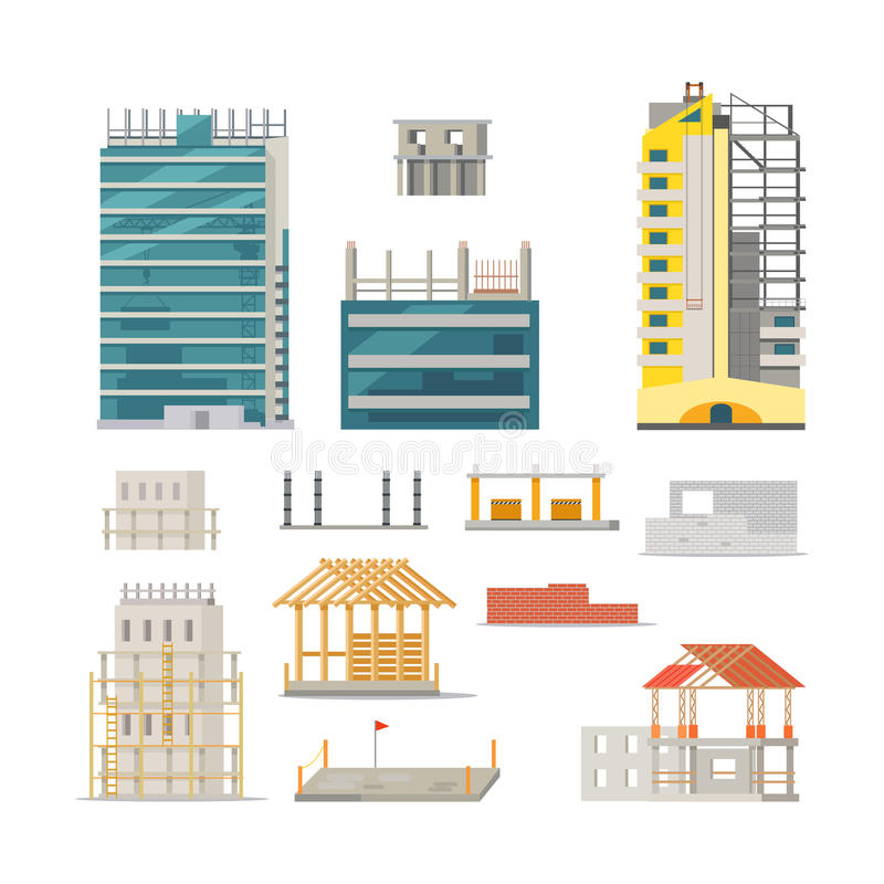Building stages of modern building construction stock for Stages of home construction