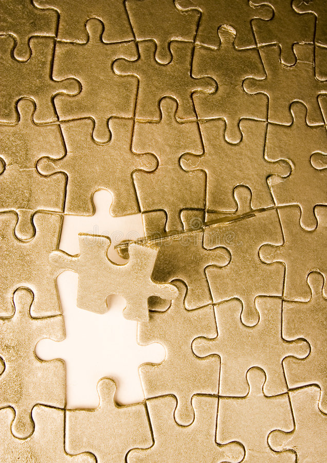 Building a strategy. Puzzle texture on the perspective stock photo
