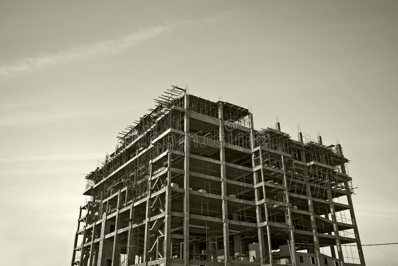 Building structure. Picture of building structure on black and white toned royalty free stock image