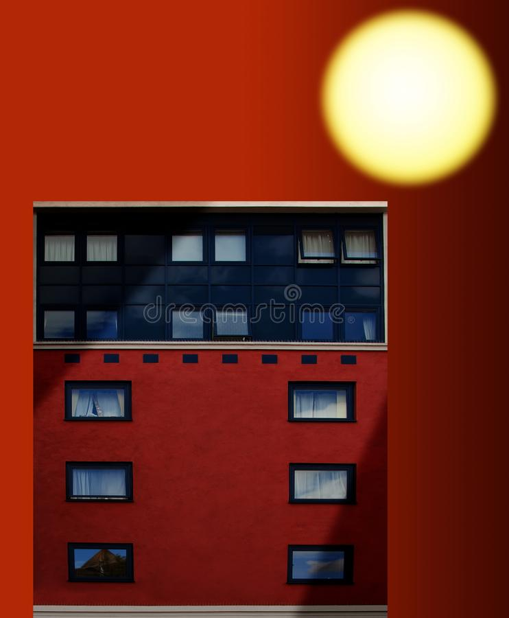 Building at sunset. Apartment Building at sunset / sunrise stock images