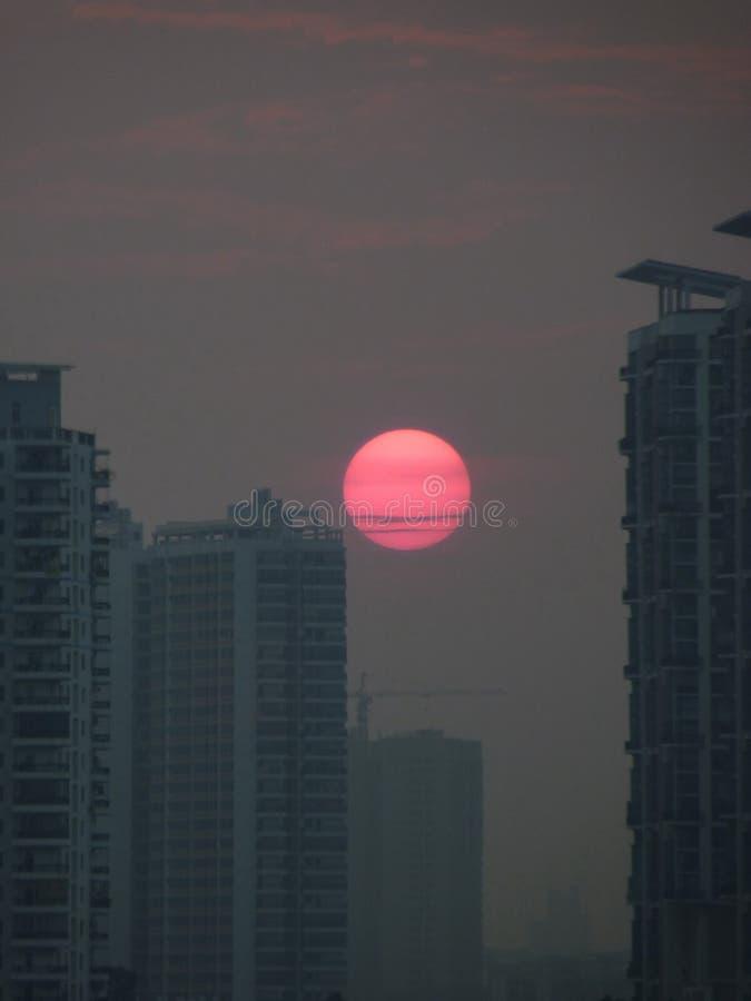 Building sunset stock photo