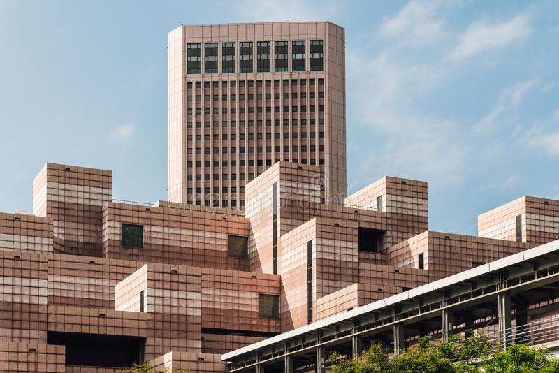 Building of Taipei World Trade Center Post Office. Decorated with white and light red color tiles royalty free stock photos