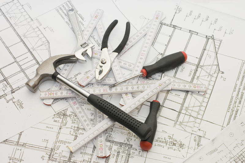 Building Tools The House Plan Stock Image