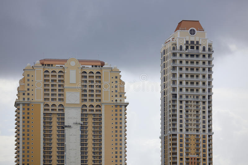 Building tops. Stock image of highrise building tops with overcast storm clouds stock photo