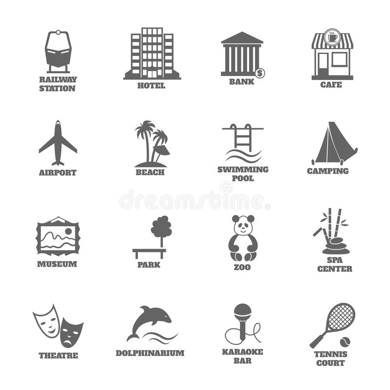 Building Tourism Icons. Set of railway station hotel bank cafe isolated vector illustration vector illustration