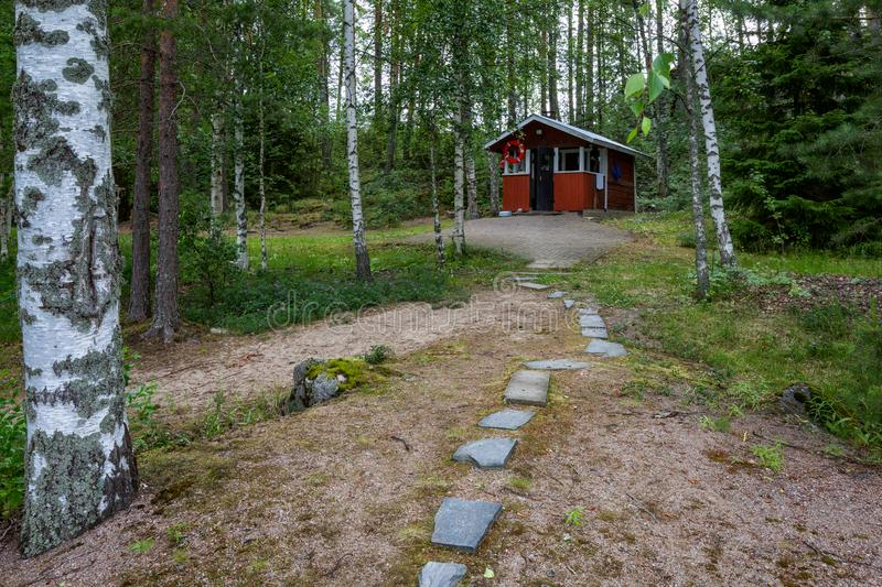 The building of a traditional Finnish sauna royalty free stock image