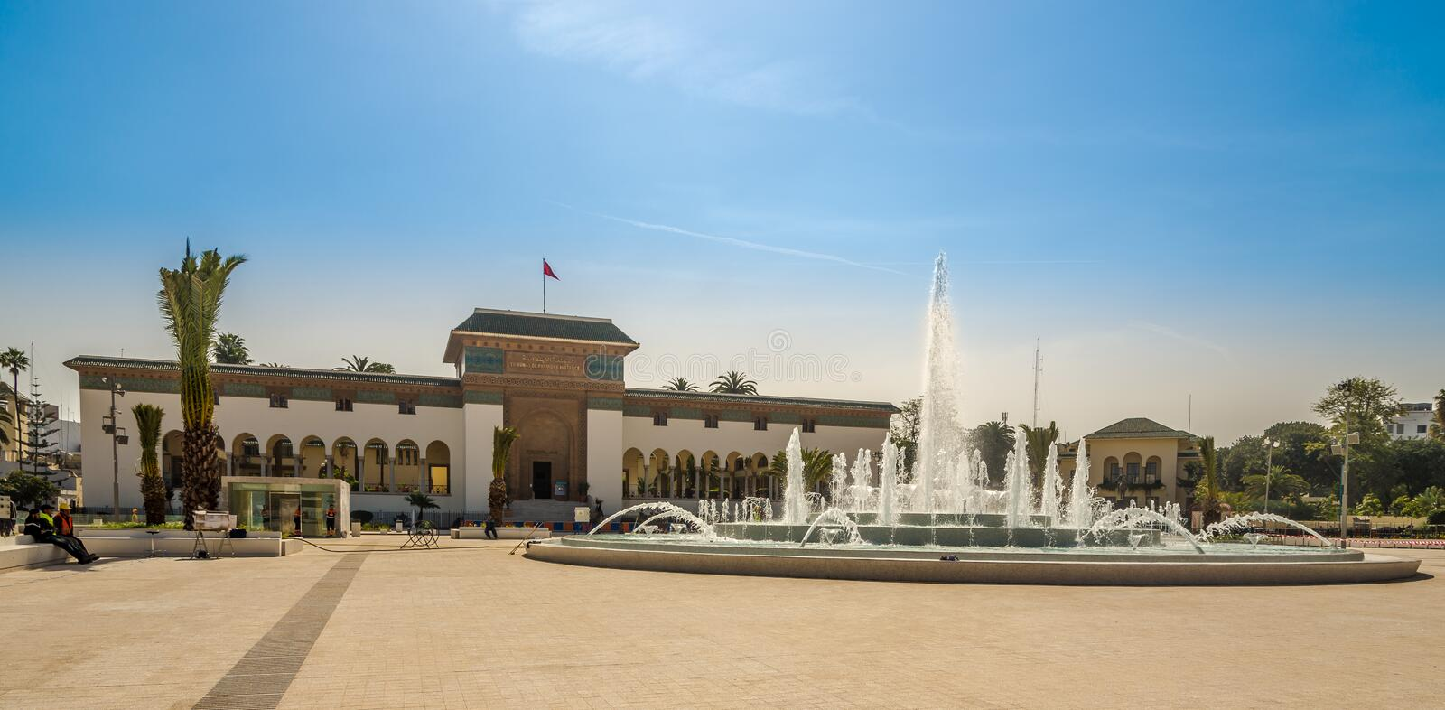 Building of Tribunal at the Mohamed square in Casablanca - Morocco stock images
