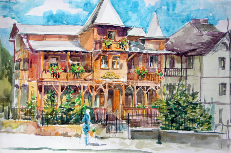 Building in Truskavets. Watercolor painting stock photo
