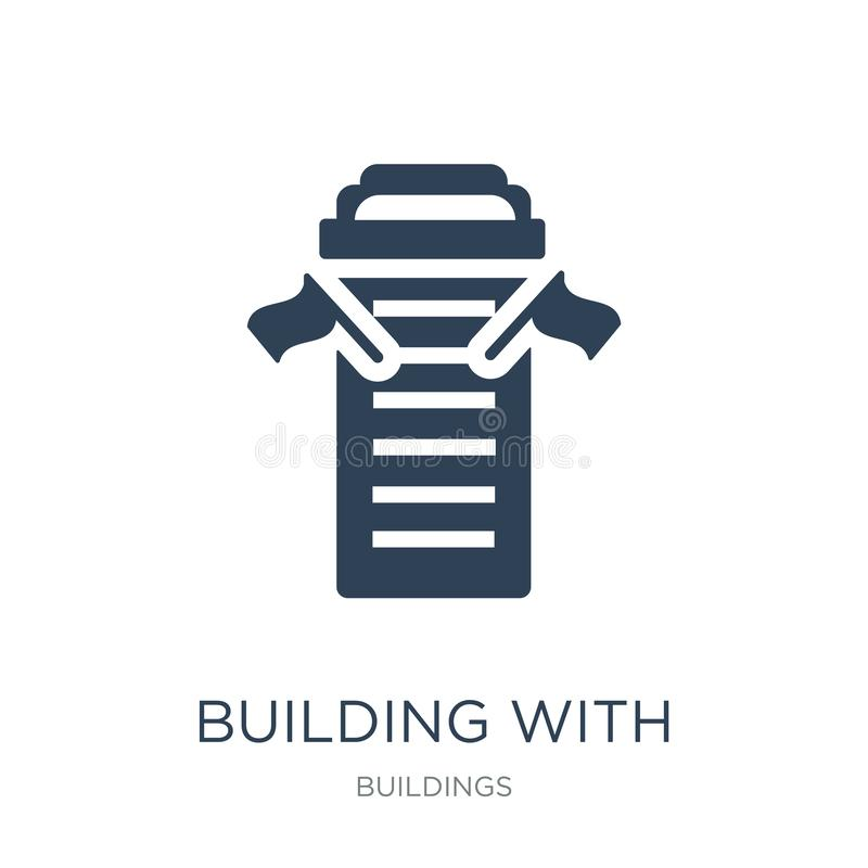 building with two flags icon in trendy design style. building with two flags icon isolated on white background. building with two vector illustration