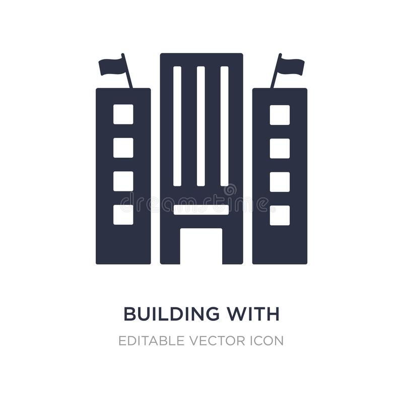 building with two flags icon on white background. Simple element illustration from Buildings concept vector illustration