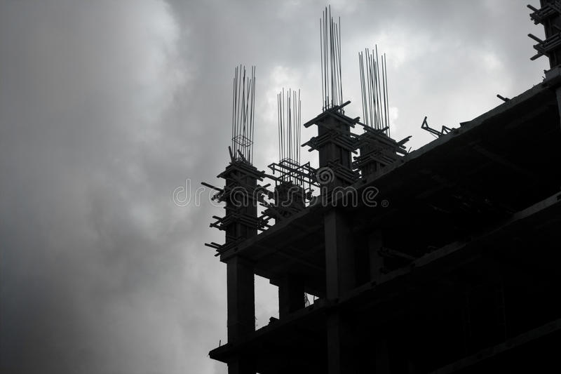Building under construction at cloud sky, Siluate concept. Building under construction at cloud sky stock images