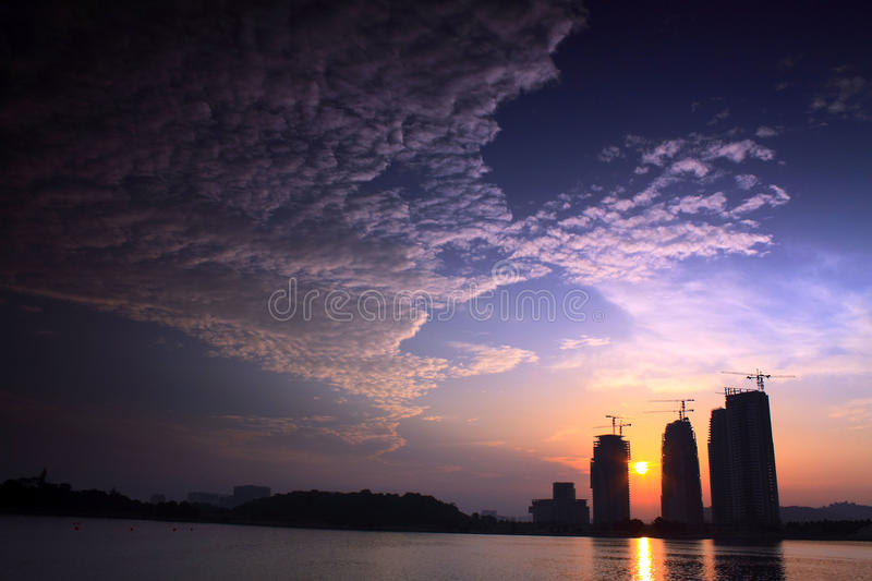 Building Under Construction At The Lake Side Royalty Free Stock Photography